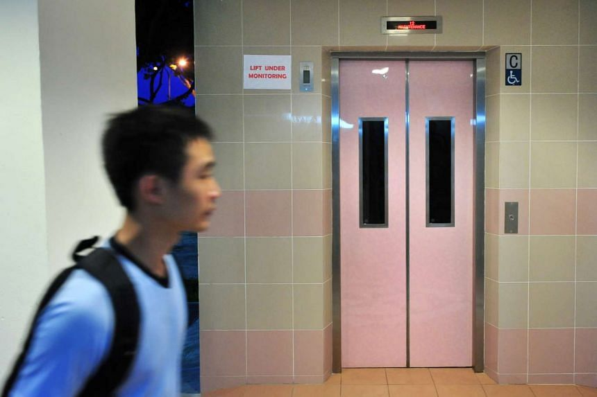 The Ministry of National Development reported it would be testing new unconventional lift systems in about 200 blocks of HDB flats. Above is an HDB flat lift in Hougang Avenue 3.