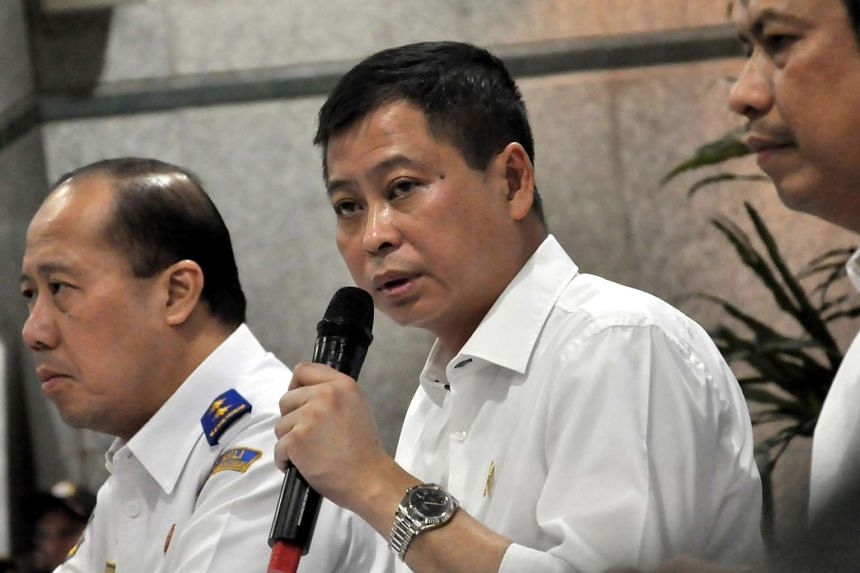 Indonesian Minister of Transport Ignatius Jonan delivers a press conference on the Trigana Air accident at the Ministry of Transportation office in Jakarta, Indonesia, on Aug 16, 2015.