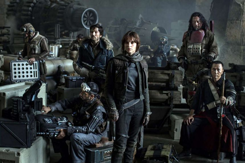 Star Wars: Rogue One's first official photo showing (from left) actors Riz Ahmed, Diego Luna, Felicity Jones, Jiang Wen and Donnie Yen.