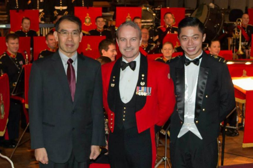 With Lt Col Nick Grace, director of music with the Band of Her Majesty's Royal Marines and SAF Bands conductor Ignatius Wang in February at the British premiere of Dr Tang's Three Portraits For Symphonic Band, which was commissioned in 2008 by Si