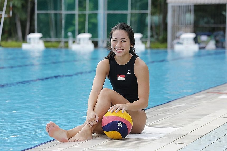 Having to train six times a week even during the off-season means that Ms Lim Wen Xin (above) and her teammates are always kept fit. According to SIT professor Benjamin Soon, playing water polo can improve one's cardiovascular health, as well as one'