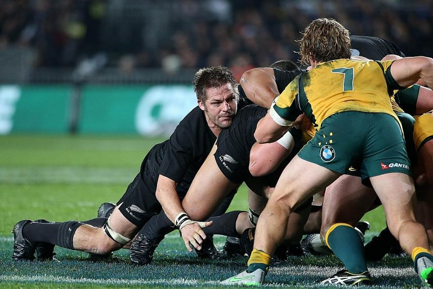 All Blacks captain Richie McCaw (centre), involved in a scrum during the Bledisloe Cup match with Australia, is expected to call it a day after the upcoming World Cup campaign. His team have been almost unbeatable since they triumphed in the 2011 edi