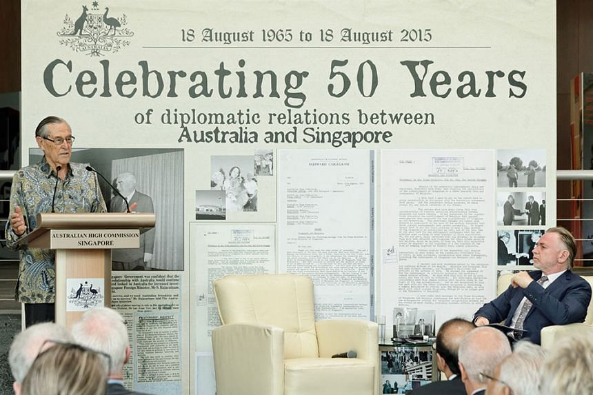 Former Australian diplomat Richard Woolcott (left), 88, speaking at a panel discussion held by the Australian High Commission in Singapore on Aug 18, 2015.