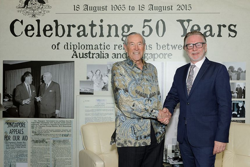 Former Australian diplomat Richard Woolcott (left), 88, and Australian High Commissioner to Singapore Philip Green at a panel discussion on Aug 18, 2015.