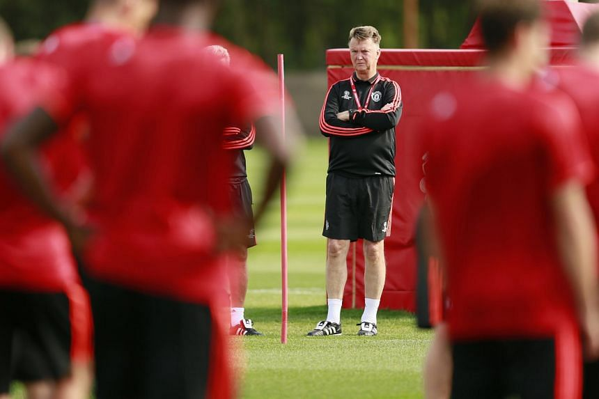 Manchester United's manager Louis van Gaal during training at  Old Trafford on Aug 17, 2015.