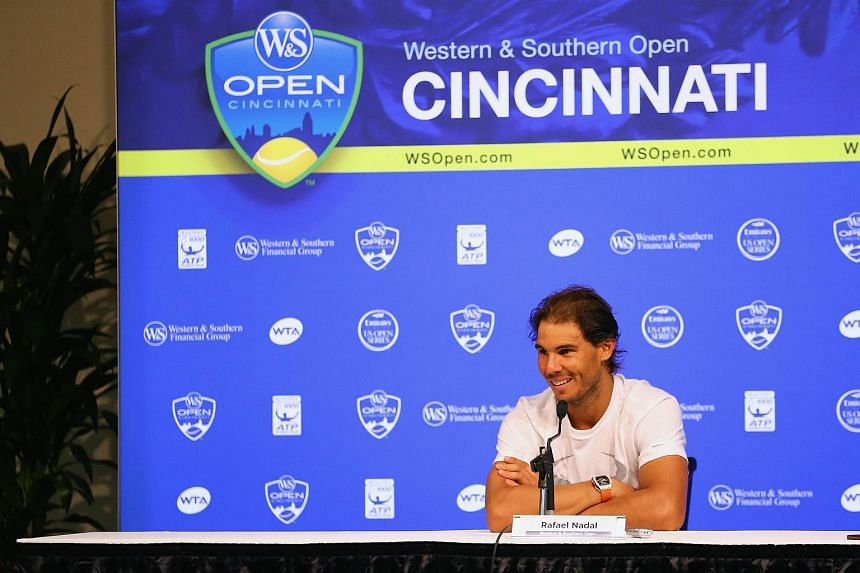 Rafael Nadal addresses the media in a press conference during Day 3 of the Western & Southern Open at the Linder Family Tennis Center on Aug 17, 2015 in Cincinnati, Ohio.