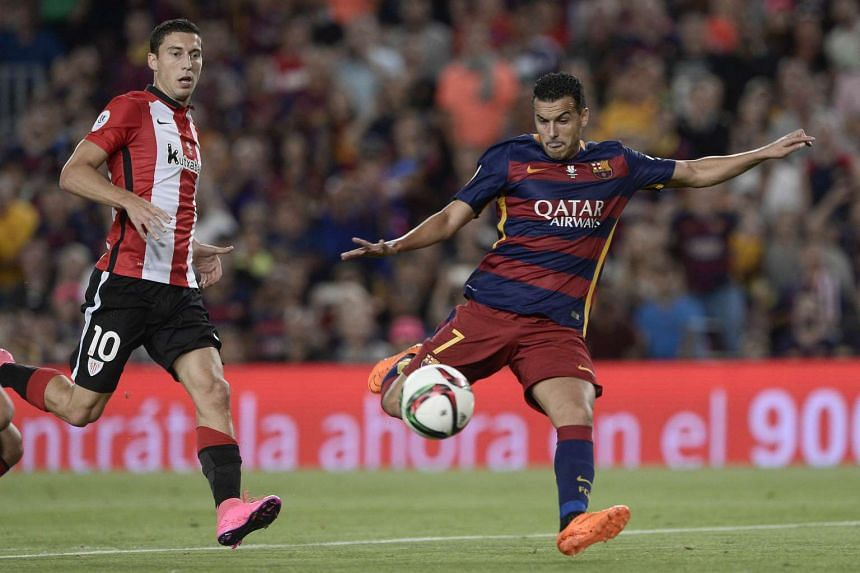 Barcelona forward Pedro Rodriguez (right) during the Spanish Supercup second-leg football match between FC Barcelona and Athletic club Bilbao on Aug 17, 2015.
