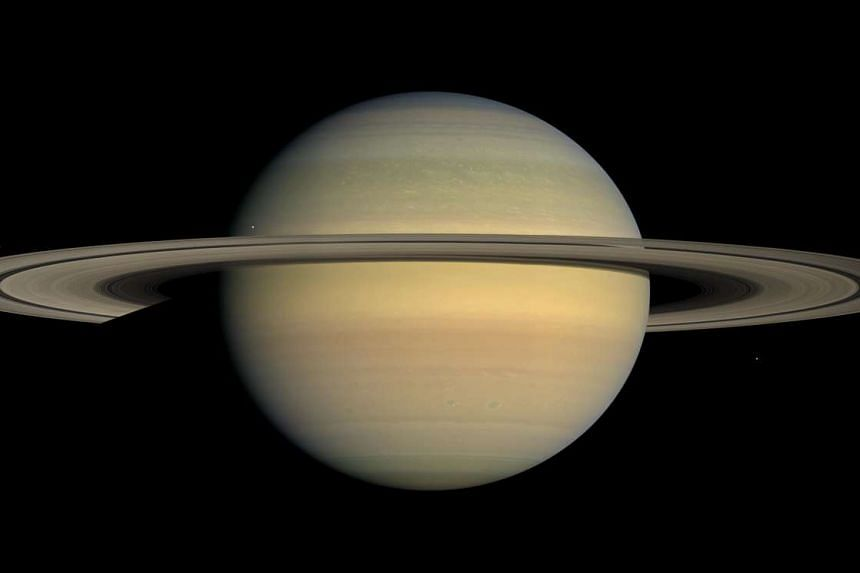 A handout photo released by Nasa on December 30, 2008 shows Saturn and its main rings seen by Cassini spacecraft. Saturn's F wing is located just oustide the main rings.