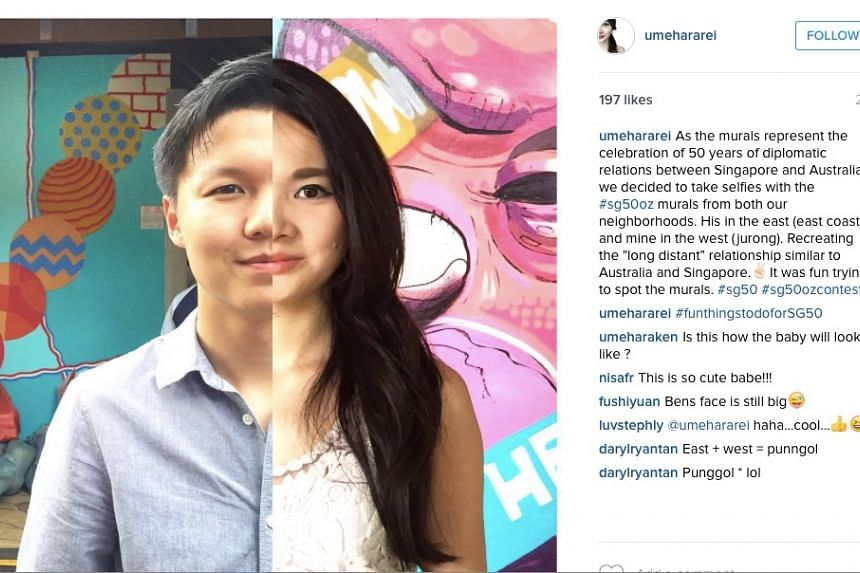 """The winner of the Australian High Commission's #sg50oz Instagram contest - a montage by 29 year-old Singaporean Rei Umehara of her and her partner, taken against the backdrop of the """"50 Walls"""" murals."""