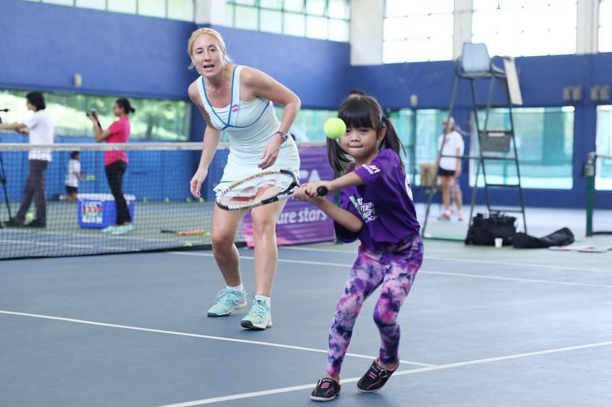 The clinic, which is part of the Love Singapore tennis programme, was conducted by WTA tournament director Melissa Pine.