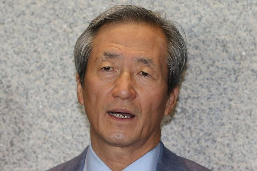 Chung Mong-joon, former FIFA Vice President and current honorary Chairman of the Korea Football Association speaking to reporters.