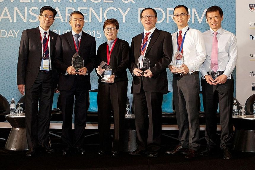 Left to right: Mr Philip Yuen, Singapore divisional president, CPA Australia; Mr Chng Lay Chew, CFO, Singapore Exchange; Ms Jeann Low, group chief corporate officer, Singtel; Mr Paul Tan, group controller, Keppel Corporation; Mr Tan Swee Chuan, group