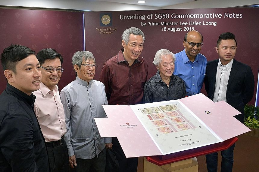 The set of six commemorative notes (left) - a $50 note and five $10 notes - will be available for exchange for Singaporeans from tomorrow. At yesterday's launch (below) were PM Lee Hsien Loong, DPM Tharman Shanmugaratnam (second from right) and Educa