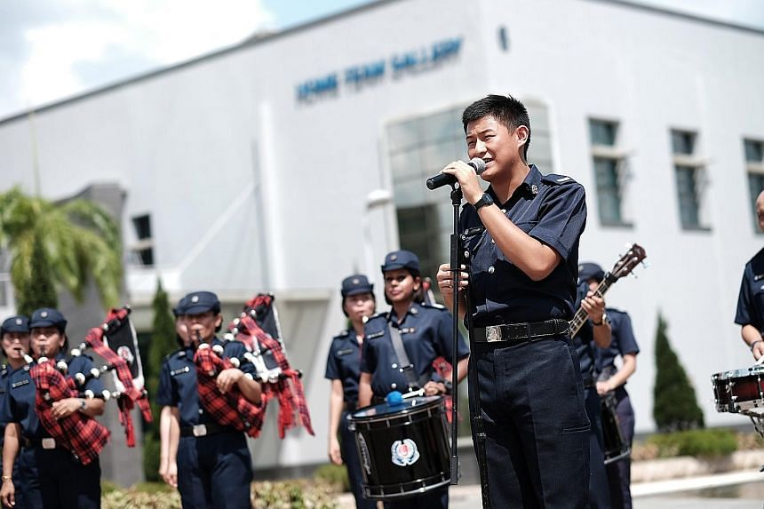 Corporal Lewis Loh, 19, singing the National Day theme song One Singapore with the Singapore Police Force band. The video, which also features footage from SPF's past 50 years, went viral online.