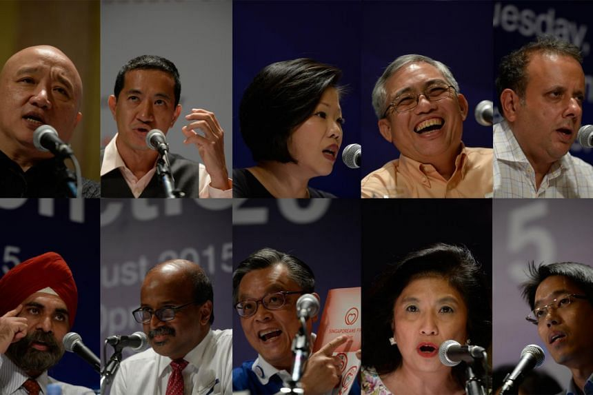 Top row: (From left) Democratic Progessive Party's Benjamin Pwee, National Solidarity Party's Steve Chia, People's Action Party's Sim Ann, People's Power Party's Goh Meng Seng and Reform Party's Kenneth Jeyaretnam. Bottom row (from left), Singapore D