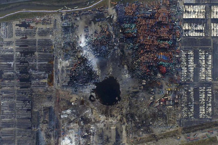 An aerial picture of the site of explosions at the Binhai new district, Tianjin, China on Aug 16, 2015.