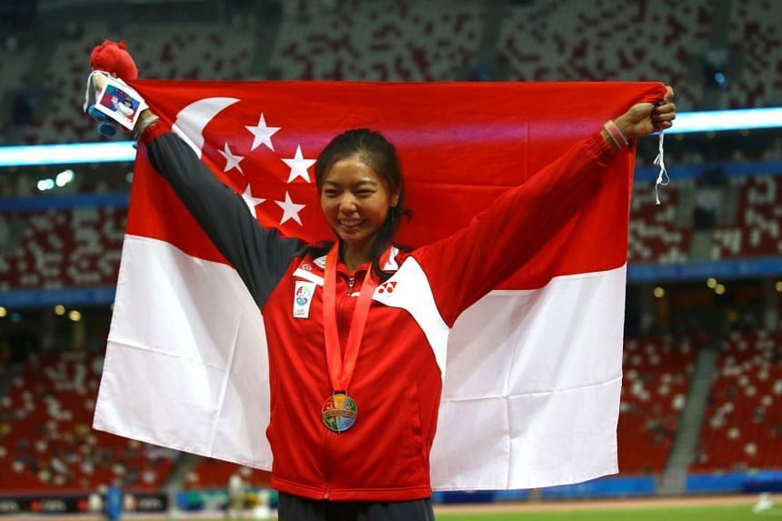 Track and field finals 28th SEA Games. Singapore's Michelle Sng took the bronze medal in the high jump finals on June 12, 2015.