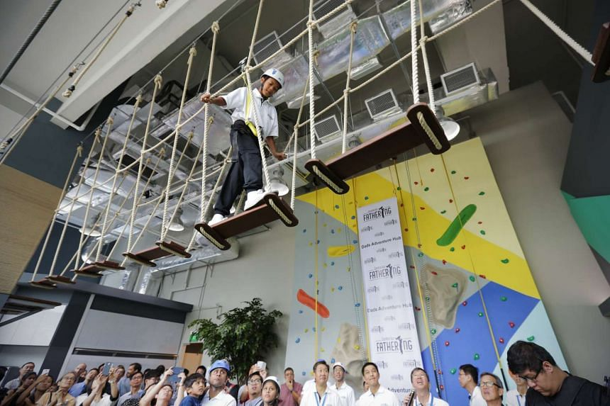 Muhammad Samir Hamzah, 13, walking on the tight rope at the Centre for Fathering.