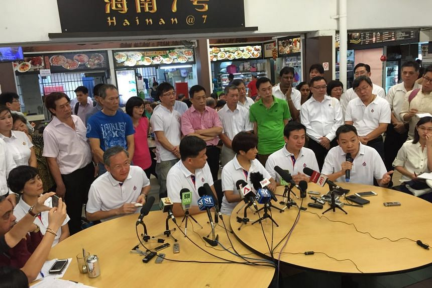 Retired senior police officer Melvin Yong (far right) speaking at the introduction of the People's Action Party candidates for the Tanjong Pagar GRC and Radin Mas SMC on Wednesday (Aug 19).