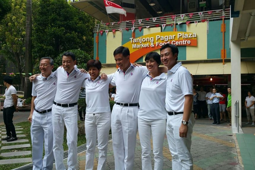 (From left to right) Mr Sam Tan will defend his seat in Radin Mas SMC. The five-member Tanjong Pagar GRC team comprises Mr Melvin Yong, Ms Indranee Rajah, Mr Chan Chun Sing, Ms Joan Pereira and Dr Chia Shi-Lu.