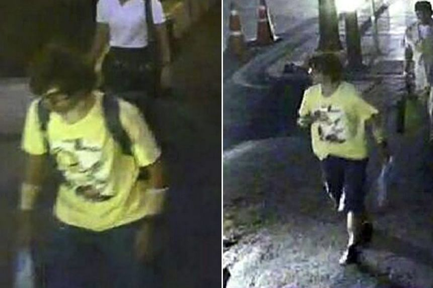 A composite picture taken from security camera and released by the Thai Royal Police showing a suspect foreigner who Thai police believes to be involved with the bomb attack walks with backpack (left) and leaves its and left the Erawan Shirne (right)