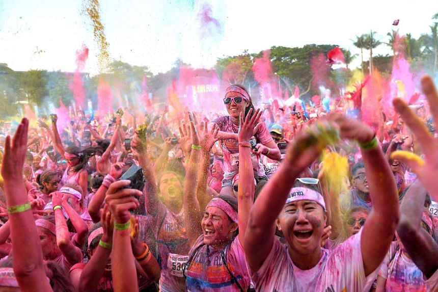 Participants at The Color Run in Singapore in 2013.