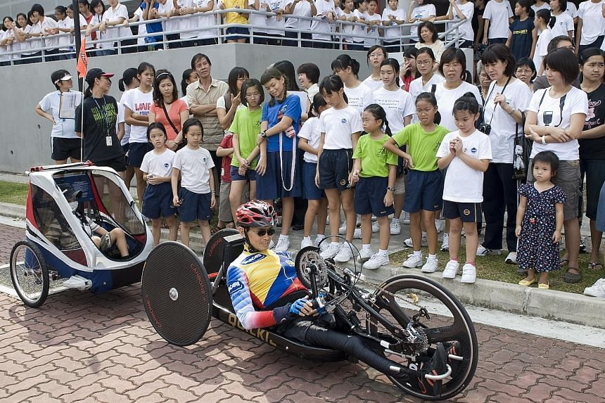 Dr William Tan will hand-cycle for 50 continuous hours to raise money for three organisations that help children. The paralympian will be on a liquid diet and take short toilet breaks. He aims to raise $50,000 for needy children.