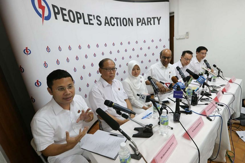 The PAP's slate for Jurong GRC and Bukit Batok SMC (from left) Desmond Lee, David Ong, Rahayu Mahzam, Tharman Shanmugaratnam, Tan Wu Meng and Ang Wei Neng.