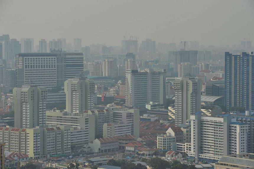 The haze around the Bugis area around 5.20pm on Aug 20, 2015.