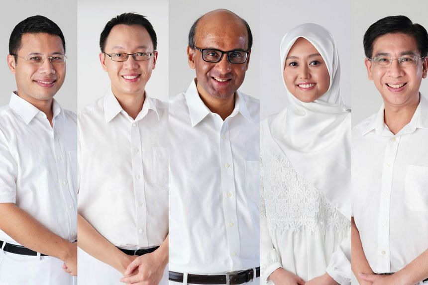 The five-member team for the Jurong GRC are Mr Desmond Lee, Dr Tan Wu Meng, Mr Tharman Shanmugaratnam, Madam Rahayu Mahzam and Mr Ang Wei Neng.
