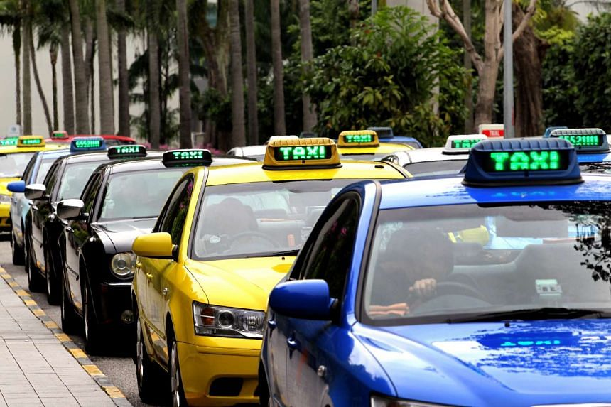 A queue of taxis at Changi Airport in 2012.