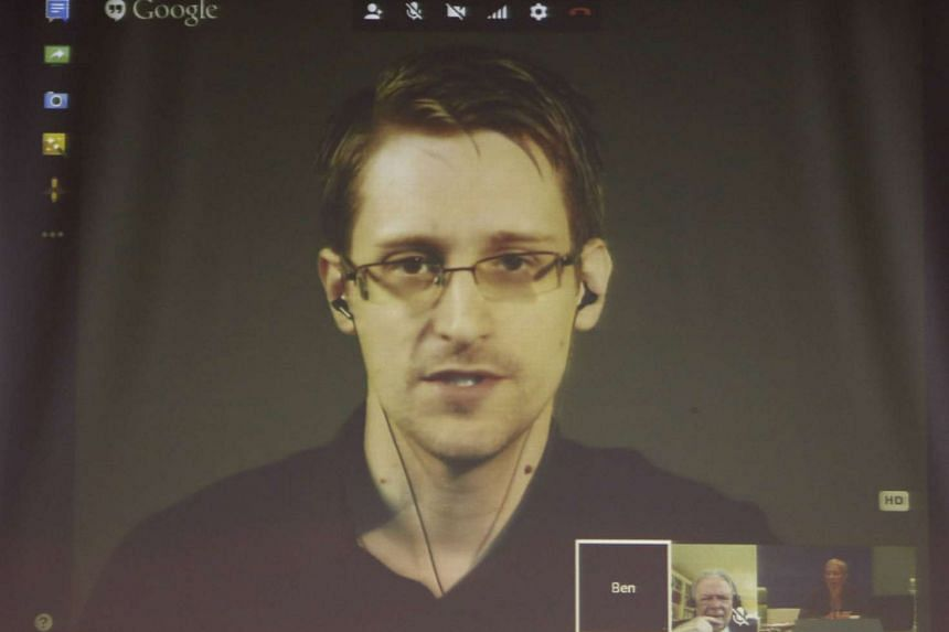 Snowden appears live via video during a meeting about whistleblowers at the Council of Europe in Strasbourg.