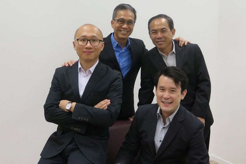 (Clockwise from bottom right) Mr Gary Chin, Dr Luan Huanbo, Mr Roger Yuen and Professor Chua Tat Seng, the co-founders of 6Estates.