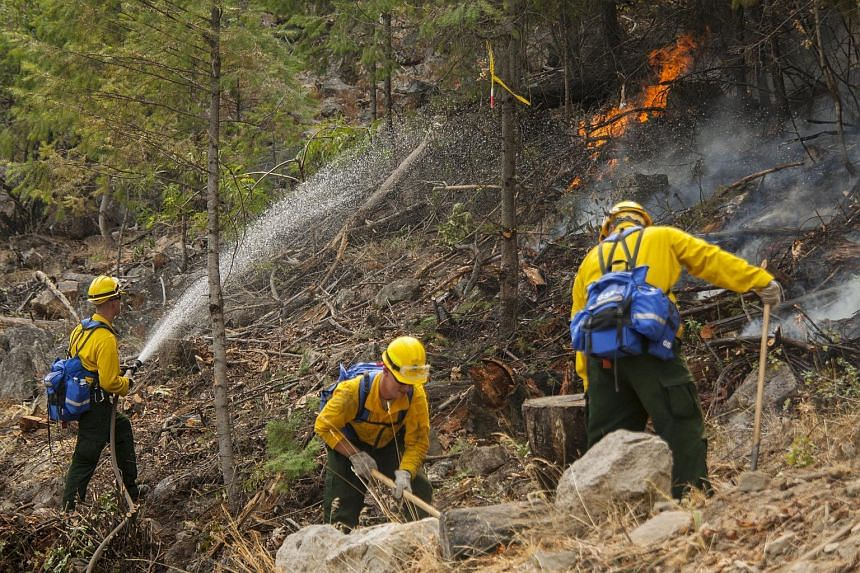 Firefighters from the Washington National Guard battle the First Creek Fire in Chelan, Washington on Aug 18, 2015.