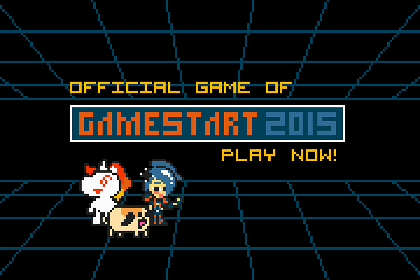 The game features GameStart mascot Alyse battling monsters across levels of increasing difficulty.
