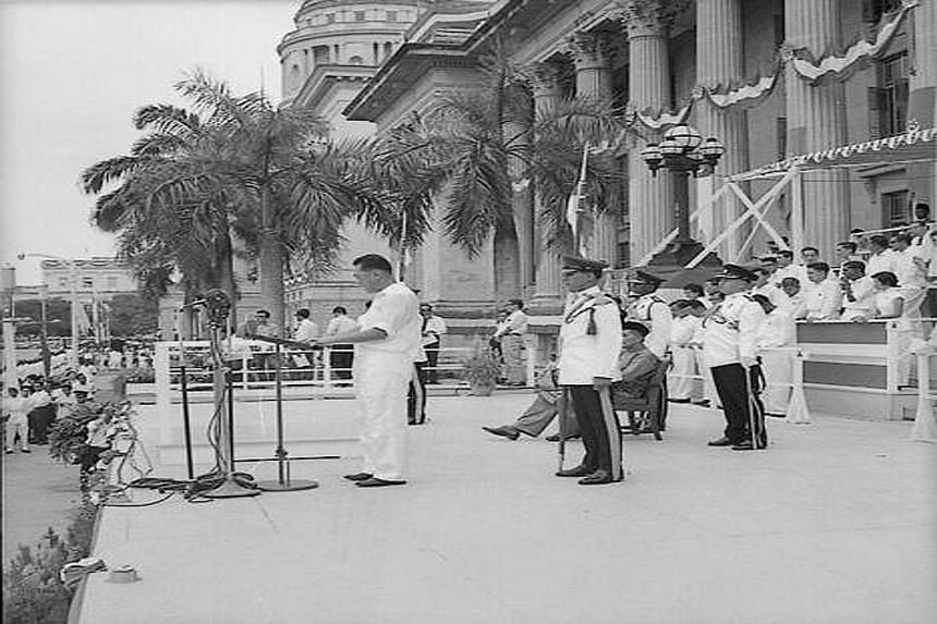 Then Prime Minister Lee Kuan Yew giving a speech in front of City Hall at the Padang in 1961. Last night, Defence Minister Ng Eng Hen spoke of how Mr Lee had insisted on a multiracial, multi-religious country. And under him, Singapore took shape as a