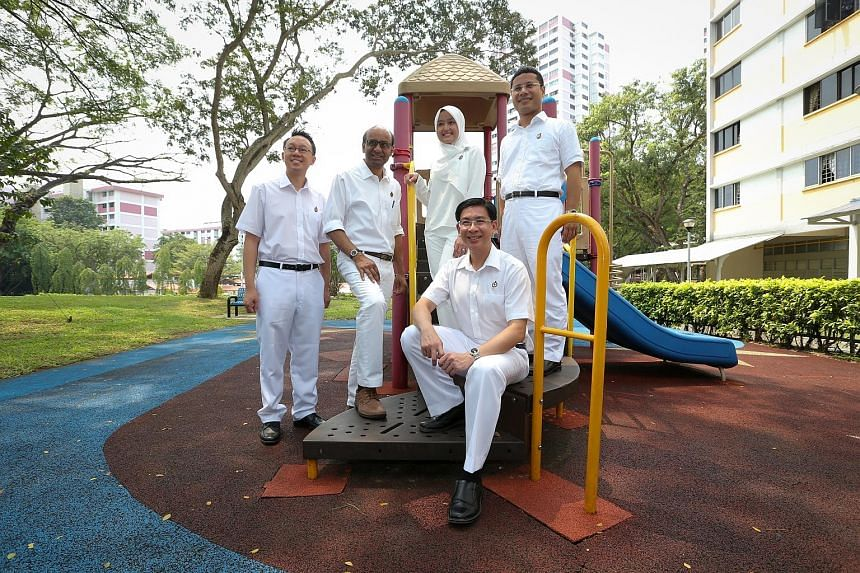 The five-member PAP team in Jurong GRC comprises (clockwise from left) Mr Tan Wu Meng, Mr Tharman Shanmugaratnam, Ms Rahayu Mahzam, Mr Desmond Lee and Mr Ang Wei Neng.