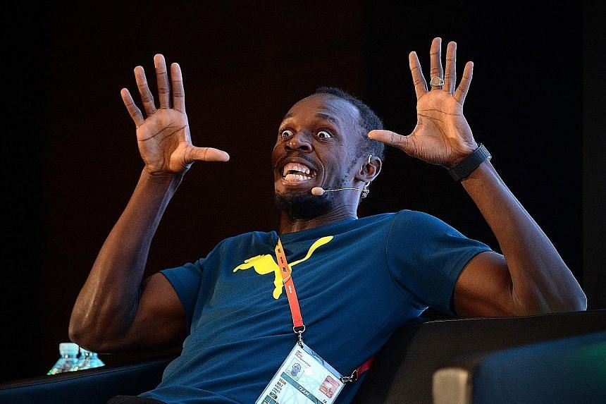 Usain Bolt reacting to a question yesterday. The Jamaican made it clear he cannot save the scandal-hit sport by himself.