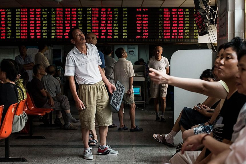 China shares were again the worst hit, with the Shanghai bourse tumbling 3.42 per cent and wiping out overnight gains.