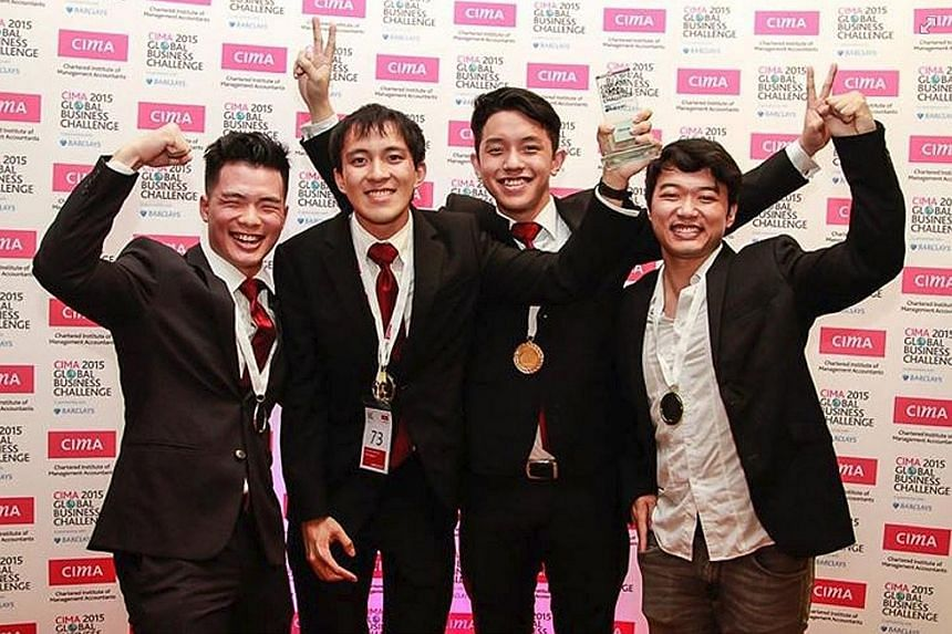 Tueur Consulting members - SMU undergraduates (from left) Tan Jhun Boon, Samuel Tan, Han Meng Siew and Chris Feng - celebrate their victory as the champions of the CIMA Global Business Challenge 2015, held in Warsaw, Poland.