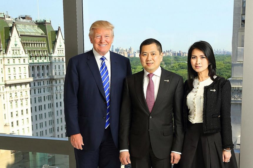 Tycoon Donald Trump with MNC Group CEO Hary Tanoesoedibjo and his wife Liliana at the signing ceremony last Friday. The Trump group will manage a six-star integrated lifestyle resort in Bali.
