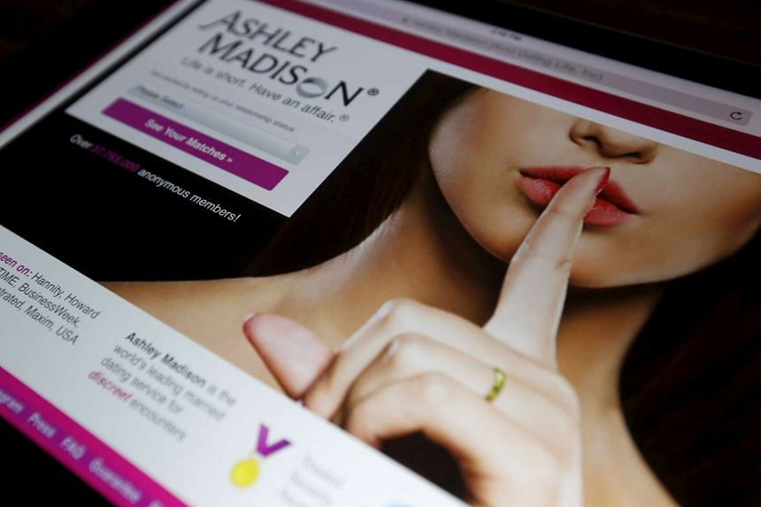 The homepage of the Ashley Madison website.