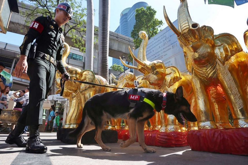 A military police bringing a detection dog around Erawan Shrine on Aug 20, 2015.