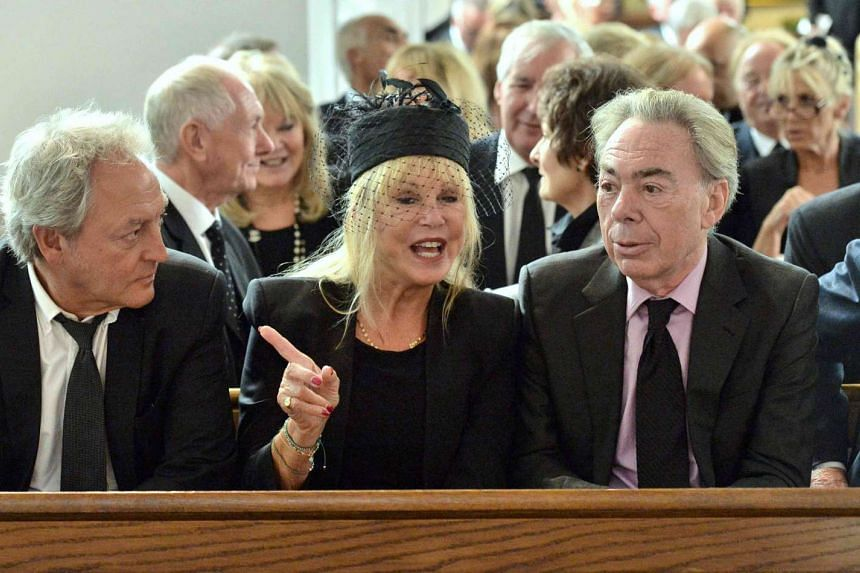 (From left) Rob Boyd, Patti Boyd and Andrew Lloyd Webber attend the funeral of Cilla Black on Aug 20, 2015.