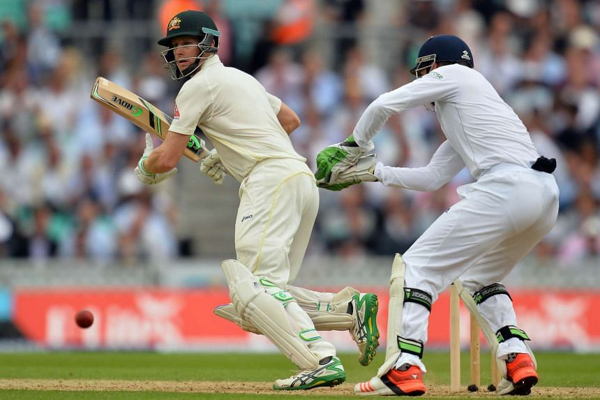 Australia's Adam Voges (left) runs after playing a shot during the first day of the fifth Ashes cricket Test match between England and Australia at the Oval in London on Aug 20, 2015.