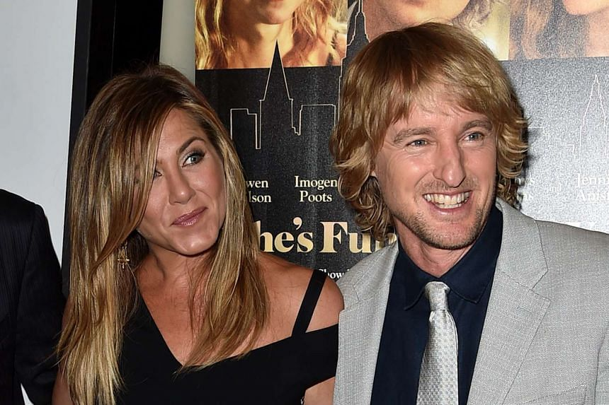 Jennifer Aniston (left) and Owen Wilson attending the premiere of Lionsgate Premiere's She's Funny That Way at Harmony Gold on Aug 19, 2015.