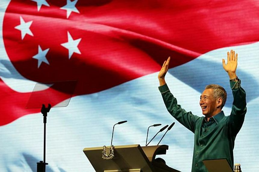 Prime Minister Lee Hsien Loong delivering his 2014 National Day Rally speech. Mr Lee will deliver this year's speech on Sunday, Aug 23.