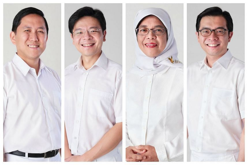 The PAP's Marsiling-Yew Tee team (from left) Alex Yam, Lawrence Wong, Halimah Yacob and Ong Teng Koon.