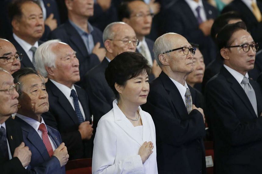 South Korea's President Park Geun Hye (centre) at a ceremony marking the 70th anniversary of Japan's surrender in World War II in Seoul on Aug 15, 2015.