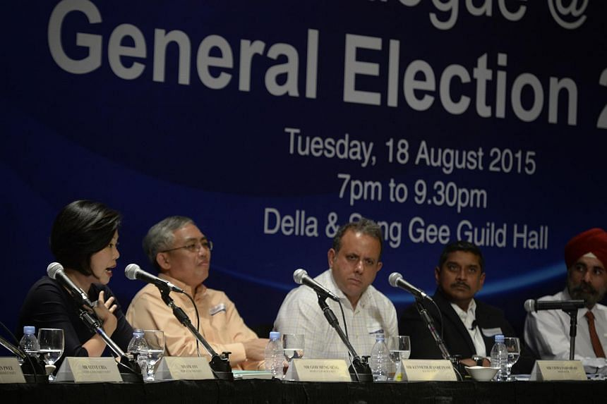 (From left) People's Action Party's Sim Ann, People's Power Party's Goh Meng Seng and Reform Party's Kenneth Jeyaretnam, moderator Viswa Sadasivan and Singapore Democratic Alliance's Harminder Pal Singh pictured at the National University of Singapor
